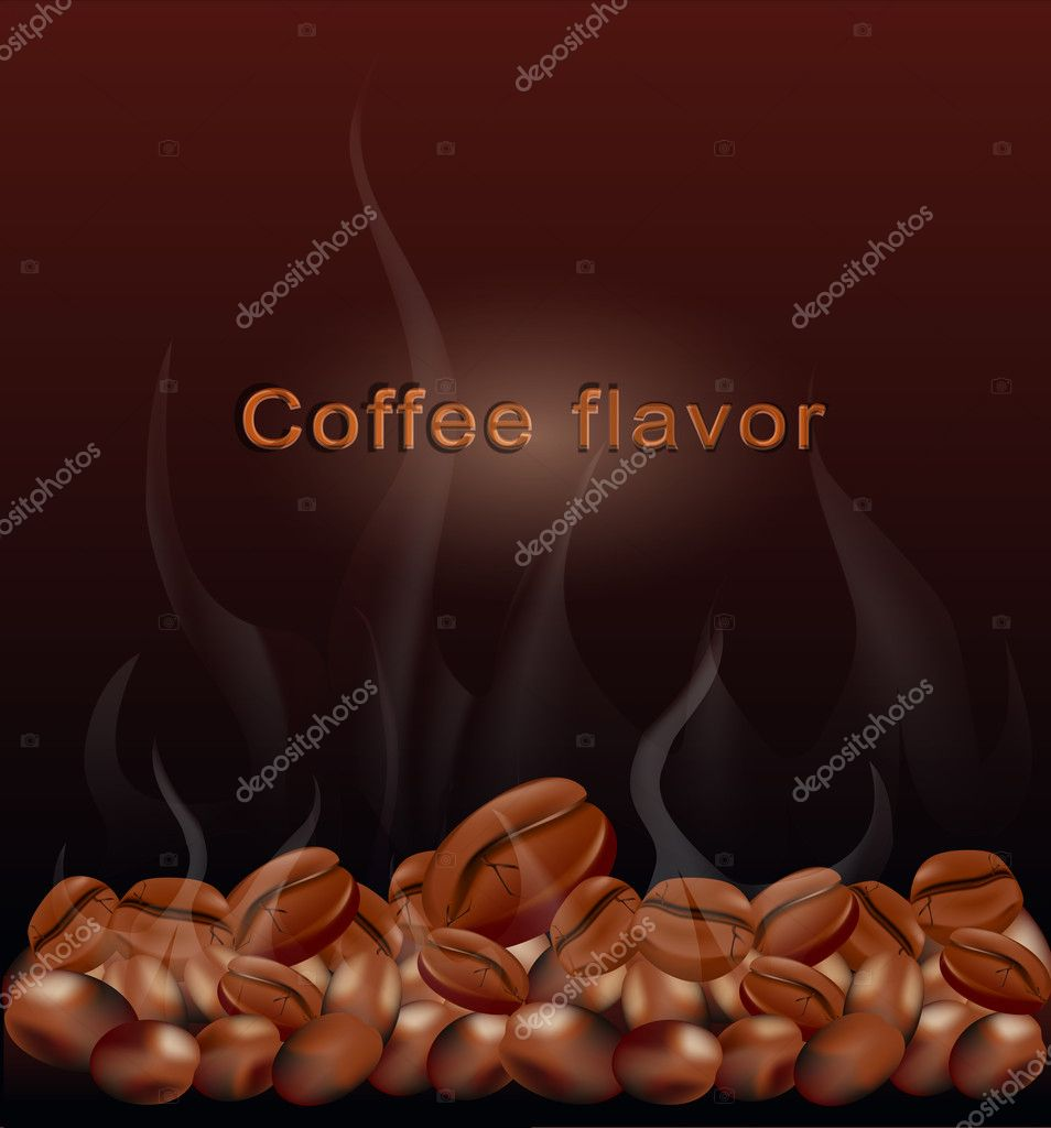 Vector fried hot coffee beans on a brown background