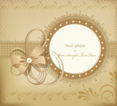 Gold vector greeting wedding frame for photo with a bow, pearls