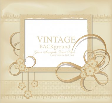 Congratulation vector vintage background with ribbons, flowers,