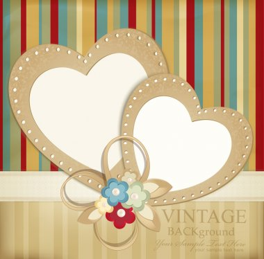 Congratulation vector retro background with ribbons, flowers and