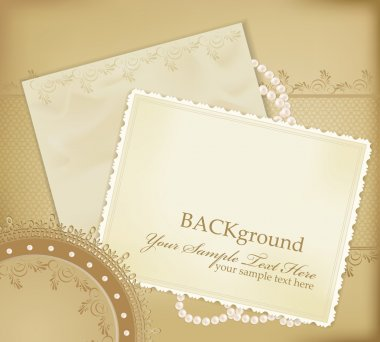 Vector congratulation gold retro background with ,pearls, lace,
