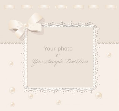 Vector greeting wedding frame for photo with a bow, pearls and l