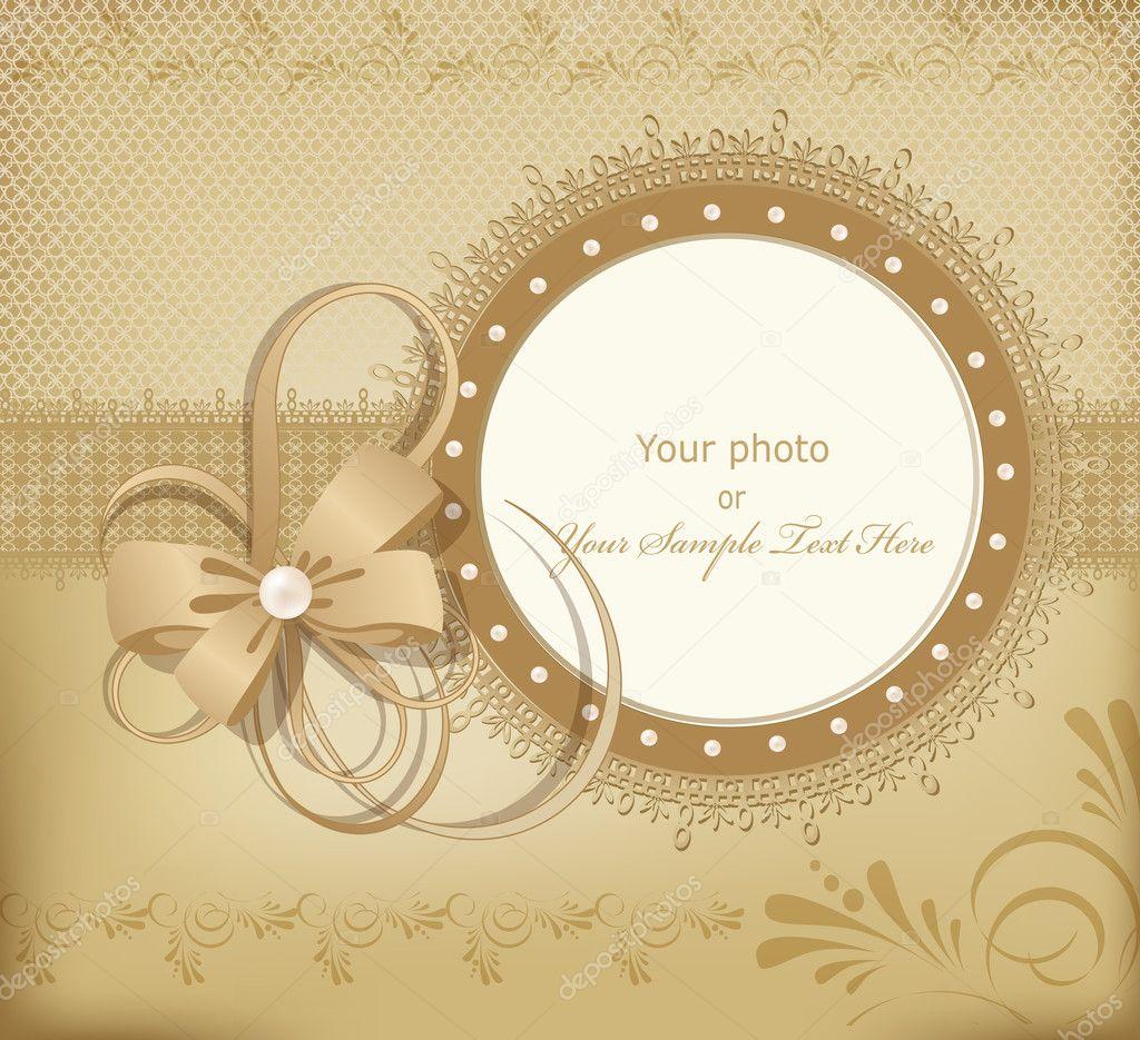 perlas de oro vector saludo marco de boda para la foto con un lazo ...