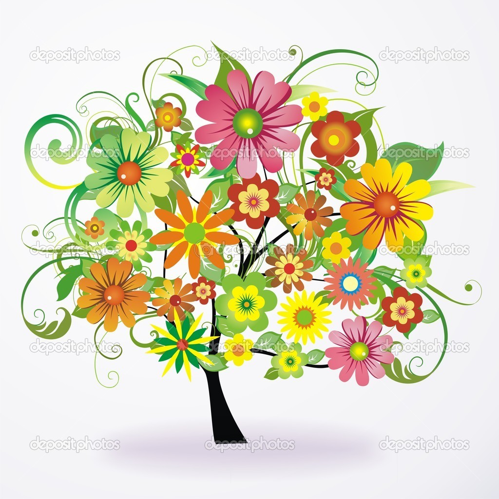 Vector abstract colorful tree from flowers — Stock Vector © Sams57 ...