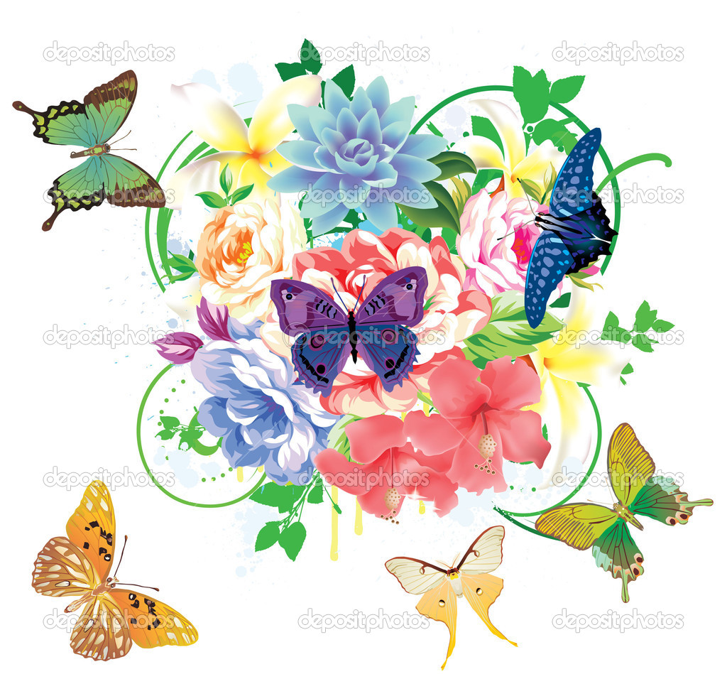 Colorful floral background with butterflies and flowers