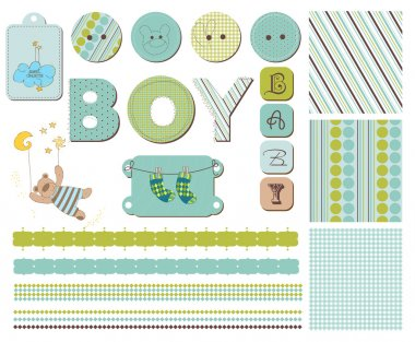 Baby Boy Scrapbook Design Elements