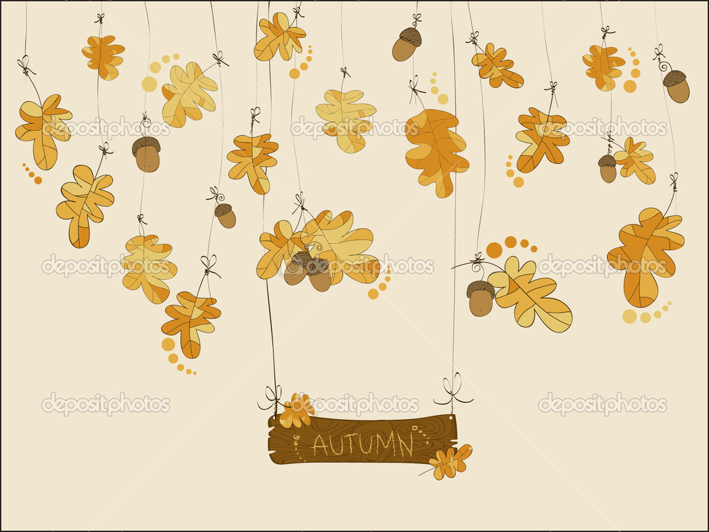 Autumn greeting card in vector with acorns and oak leaves