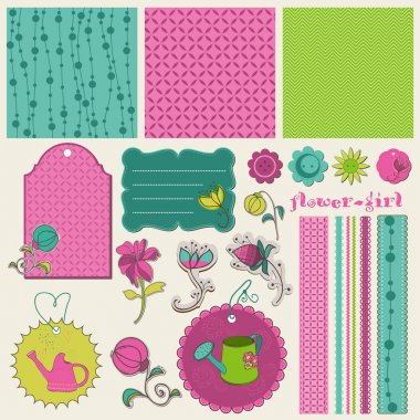 Scrapbook Flower Set in vector