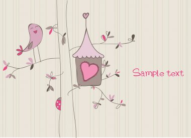 Card with Bird House in vector