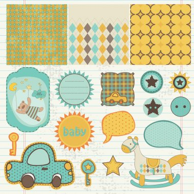 Design elements for baby scrapbook in vector