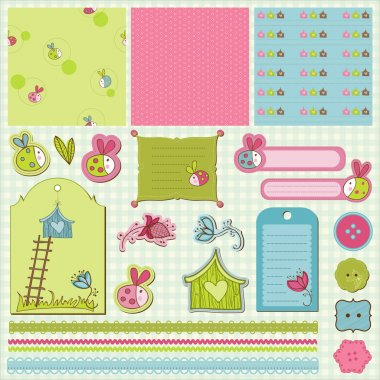 Baby Scrap with Ladybugs in vector