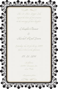Wedding Card with Lace Details in vector