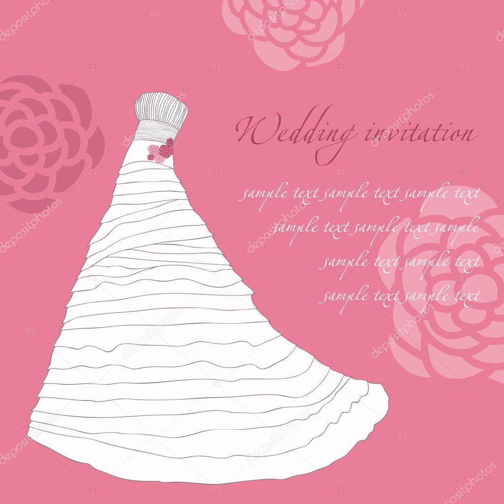 tarjeta de la invitación de boda vestido en vector — Archivo ...