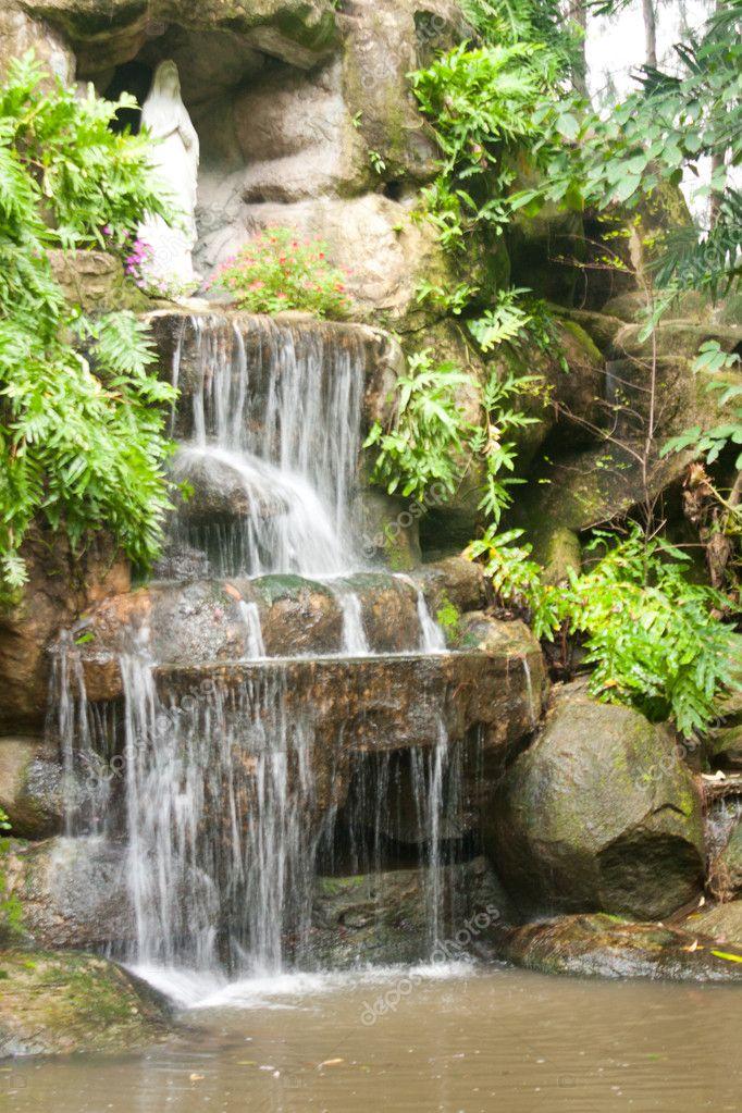 Waterfall in the garden.