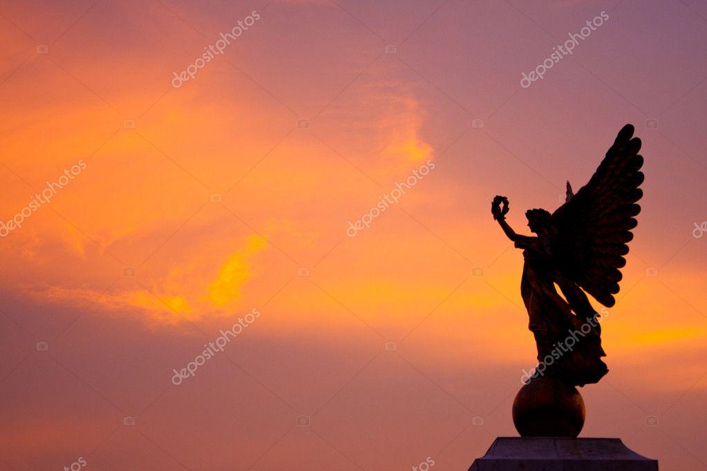 Goddess statue in the sky.