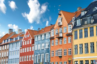 Colorful Danish houses near famous Nyhavn canal in Copenhagen, Denmark