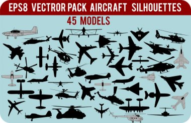Vector aircraft silhouettes pack