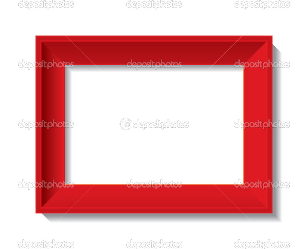 Red empty photo frame - vector