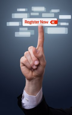 Hand pressing register now button
