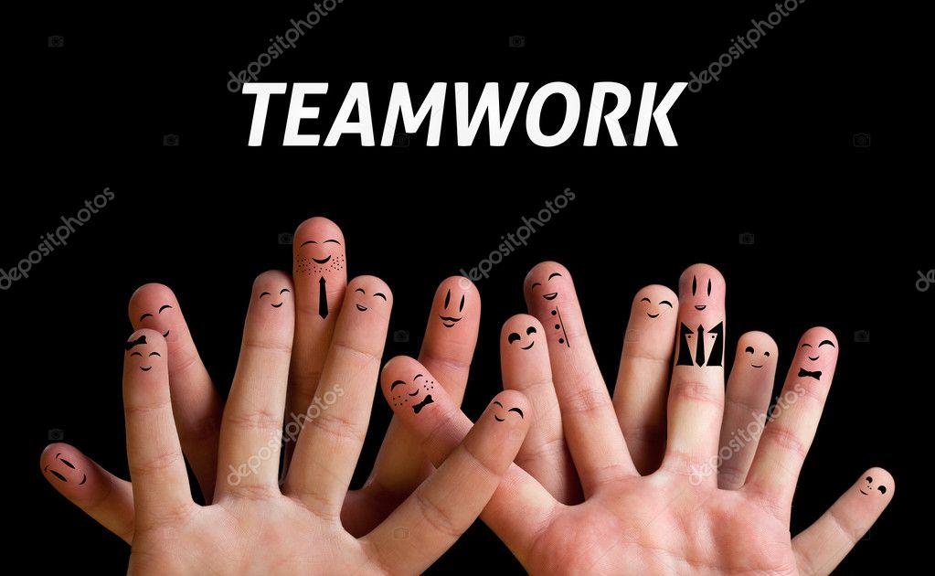 Happy group of finger smileys 3