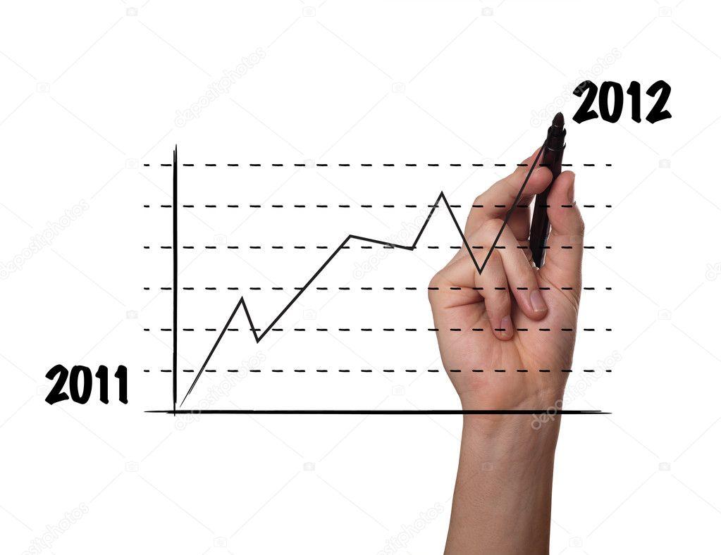 Kaufmann, zeichnen ein Diagramm auf einer Glasscheibe — Stockfoto ...