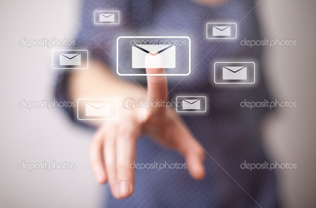 Hand pressing e-mail sign