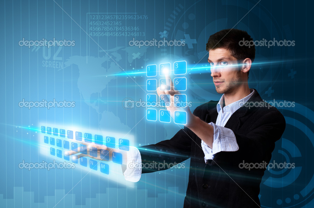 Man pressing modern touch screen buttons with a blue technology