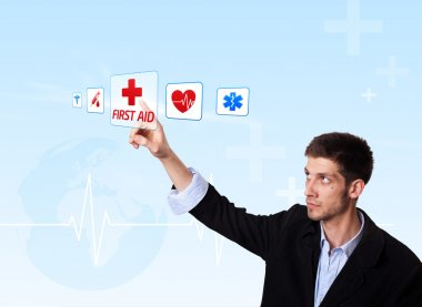 Young doctor pressing first aid button, futuristic technology stock vector