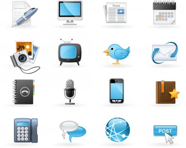 Communication channels icon set