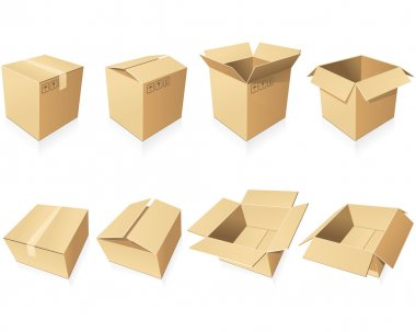 Blank cardboard boxes