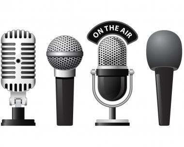 Set of retro and modern microphones in different styles stock vector