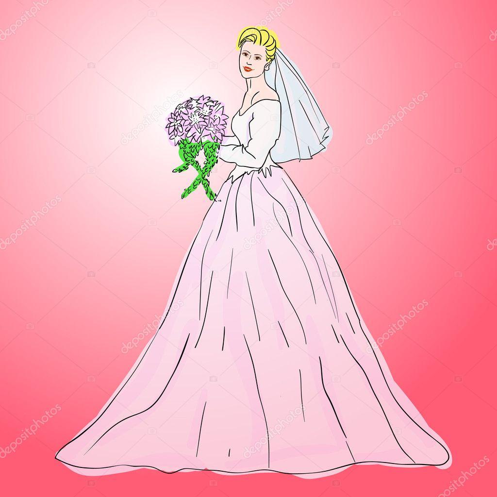 novia vestido de novia blanco con ramo de flores — Fotos de Stock ...