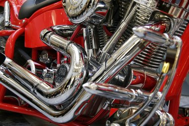 Red motor bike close up