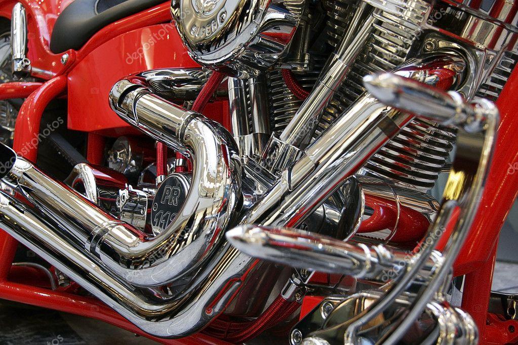 Red motor bike close up