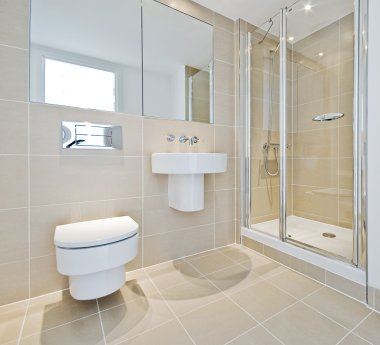 Bathroom with shower corner