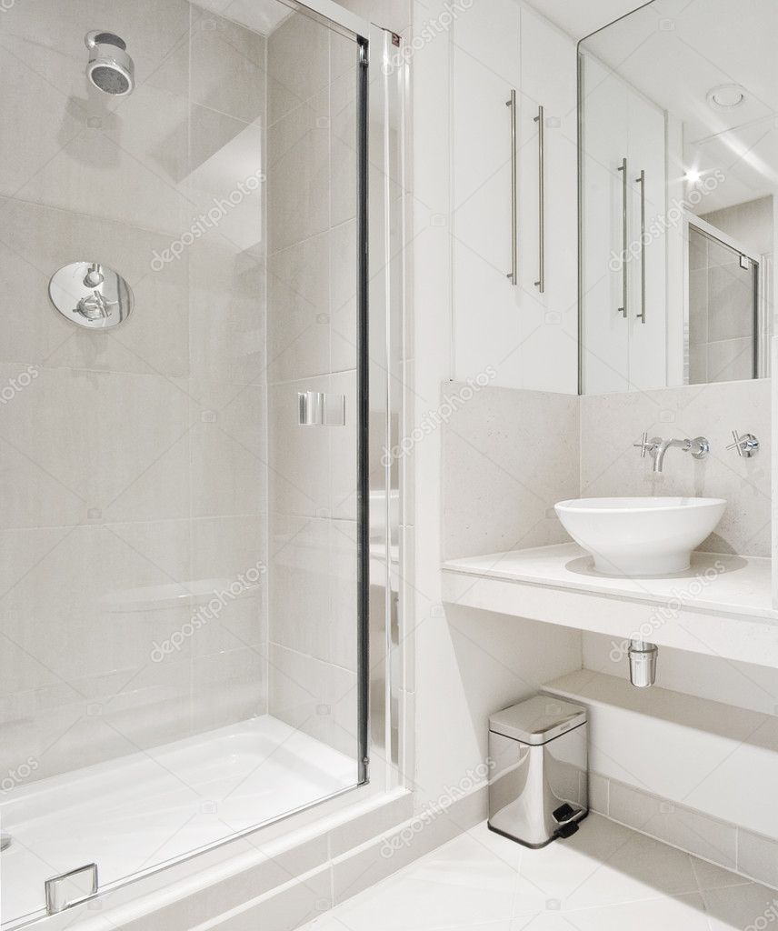 Modern bathroom with corner shower — Stock Photo © jrphoto #3982640
