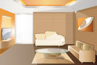 URBANA-style lounge in the dark to light brown to a warm feeling relaxed in your home with vector illustrators. stock vector