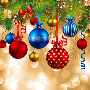 Christmas background with red, blue and golden baubles clip art vector