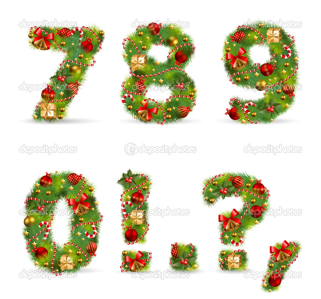 Abcdef vector christmas tree font stock vector aviany for Number of ornaments for christmas tree