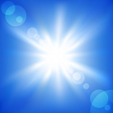 Sun on a blue sky. Vector illustration stock vector