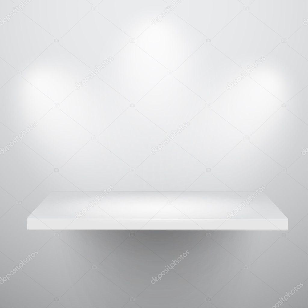 3d isolated Empty shelf for exhibit
