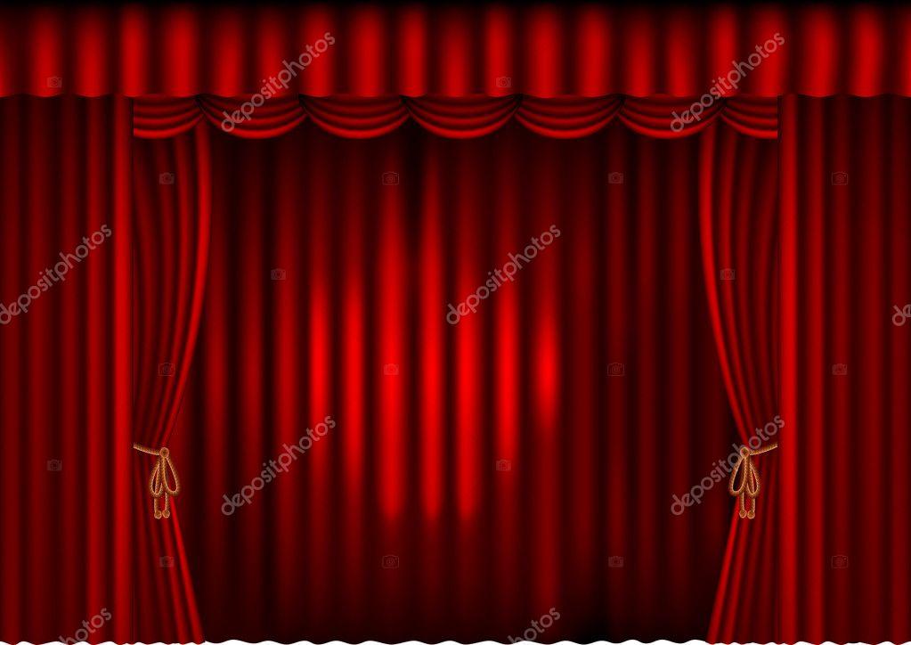 cortinas rojas con spotlight vector de stock - Cortinas Rojas
