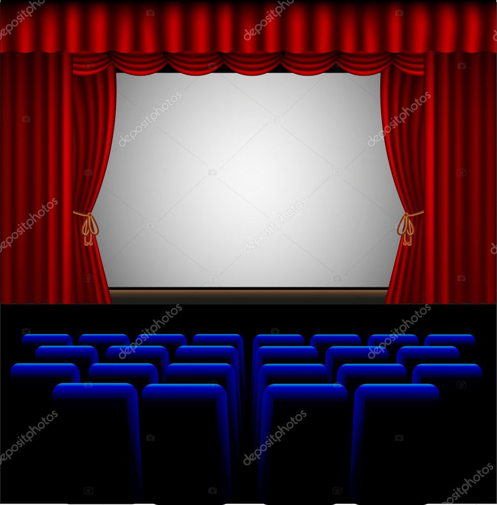 Blue stage curtains blue stage curtain vector free vector in - Movie Theater Vector Graphics