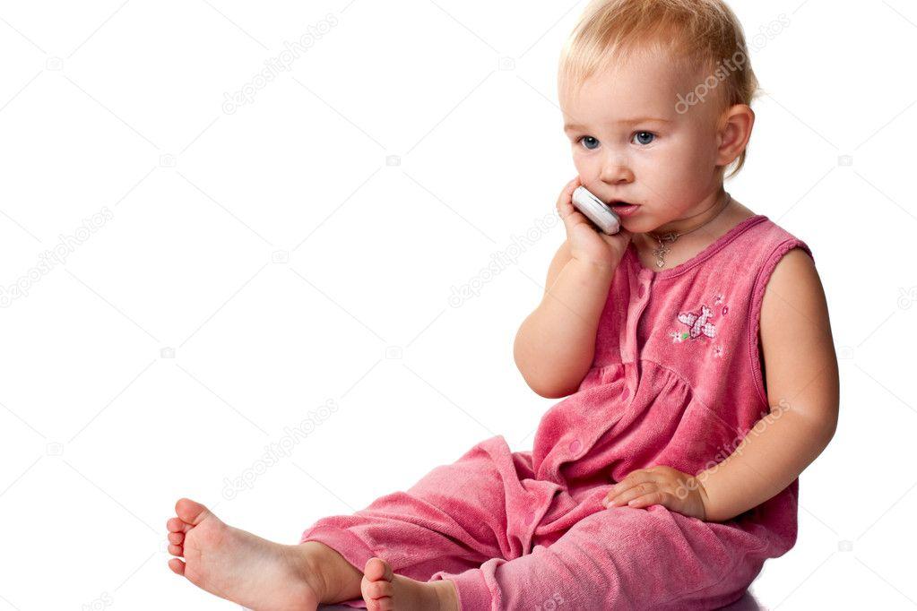 Bebe Hablando Por Telefono: Bebé Hablando Por El Teléfono Móvil