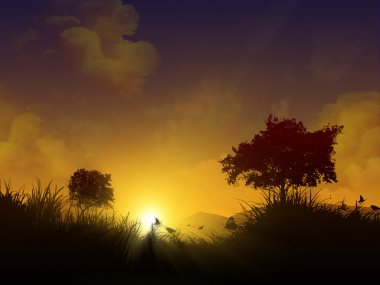 Magical sunset with silhouettes