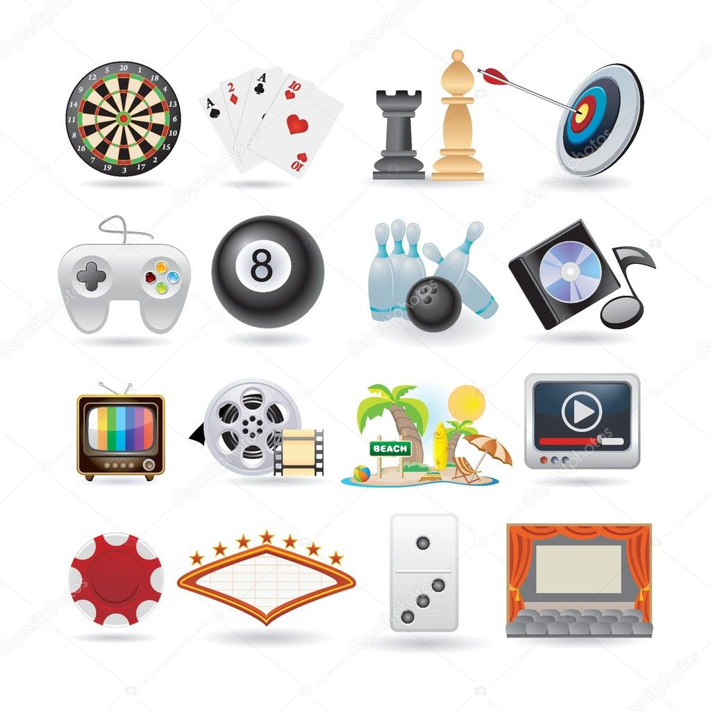 Set of entertainment icons
