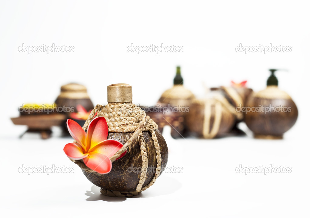 Group of coconut shell bottle