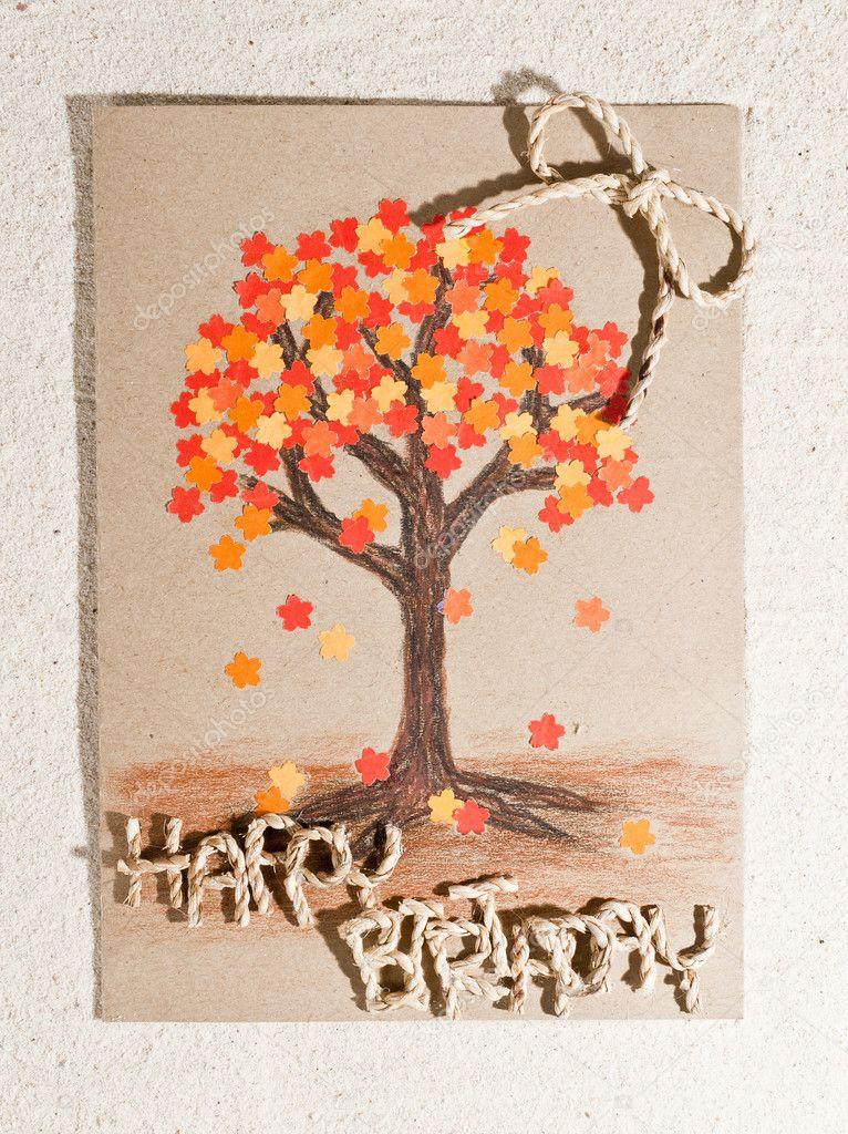 Handmade Happy Birthday Card Isolated On Sand Background Stock