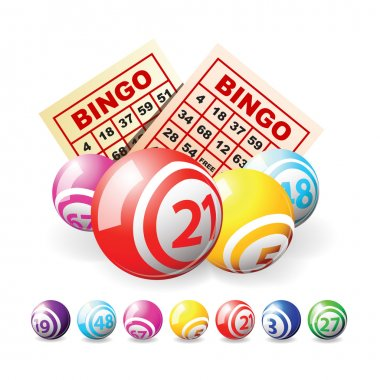Bingo or lottery balls and cards