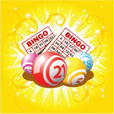 Bingo or lottery balls and cards on golden background